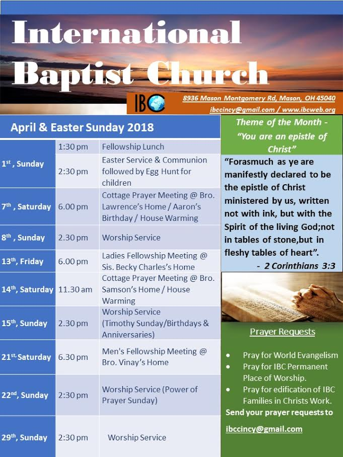 April 2018 Schedule