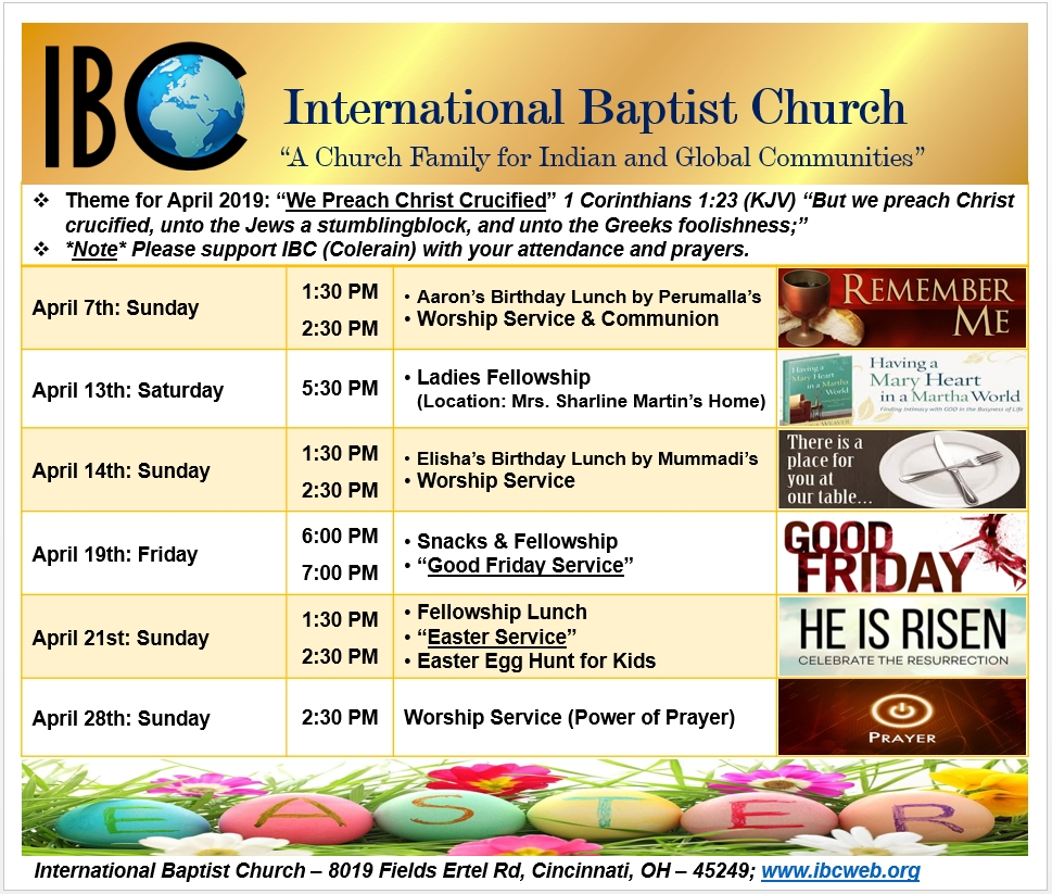 IBC Schedule of Events - April 2019