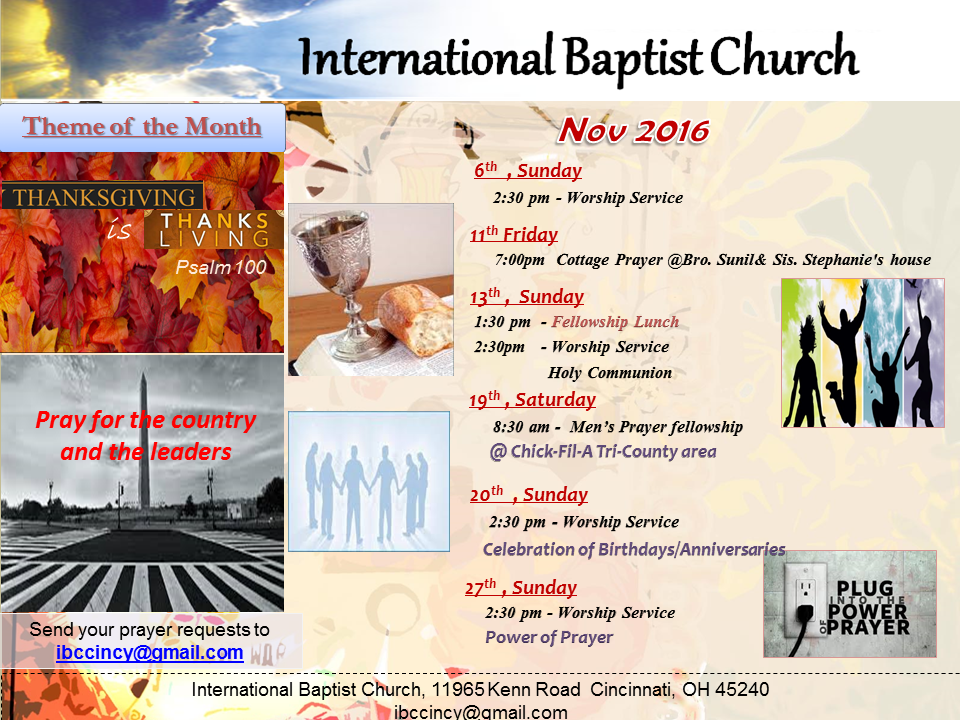 IBC Monthly Schedule - Novemeber 2016