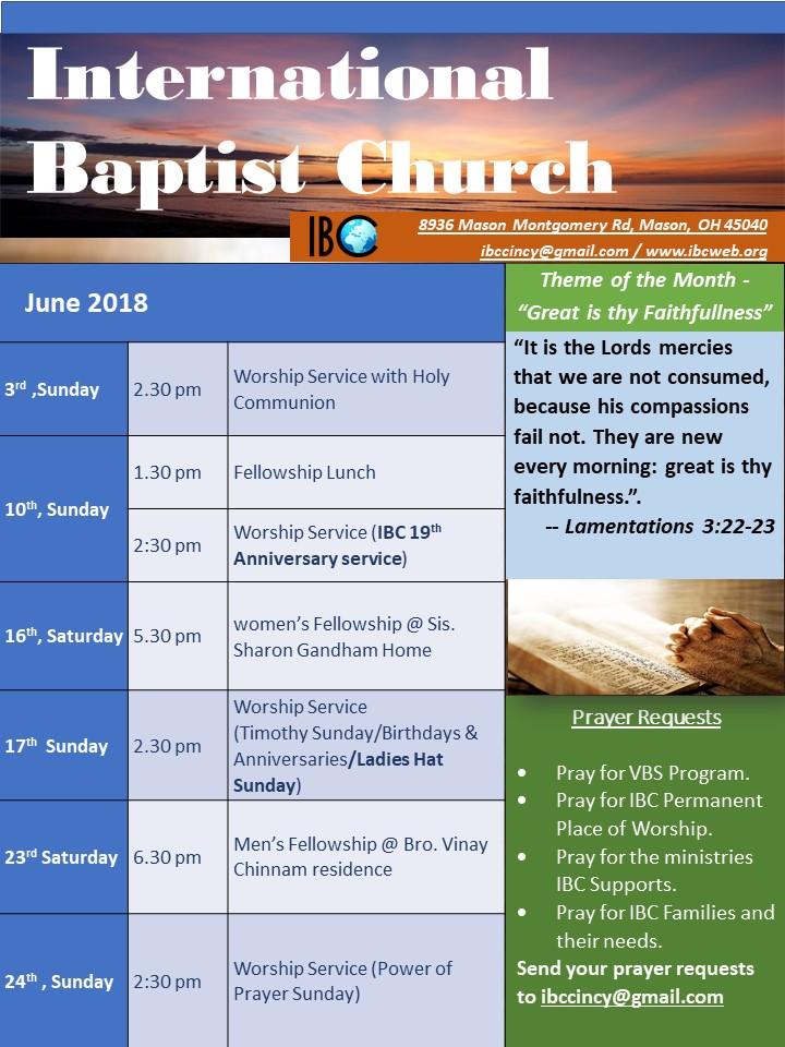 IBC Monthly Schedule June 2018